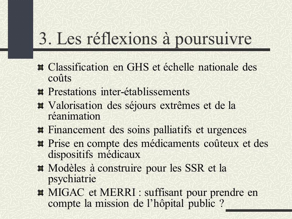 3. Les réflexions à poursuivre Classification en GHS et échelle nationale des coûts Prestations inter-établissements Valorisation des séjours extrêmes