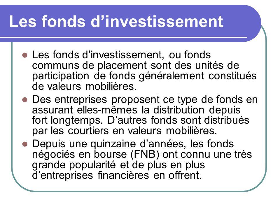 Les fonds dinvestissement Les fonds dinvestissement, ou fonds communs de placement sont des unités de participation de fonds généralement constitués de valeurs mobilières.