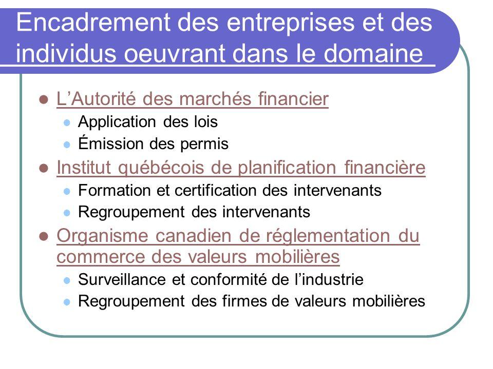 Encadrement des entreprises et des individus oeuvrant dans le domaine LAutorité des marchés financier Application des lois Émission des permis Institu
