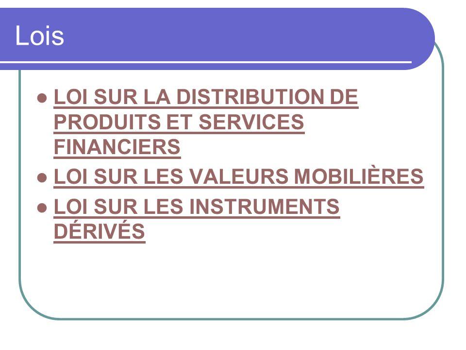 Lois LOI SUR LA DISTRIBUTION DE PRODUITS ET SERVICES FINANCIERS LOI SUR LA DISTRIBUTION DE PRODUITS ET SERVICES FINANCIERS LOI SUR LES VALEURS MOBILIÈRES LOI SUR LES INSTRUMENTS DÉRIVÉS LOI SUR LES INSTRUMENTS DÉRIVÉS
