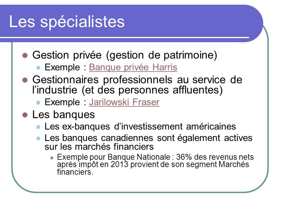 Les spécialistes Gestion privée (gestion de patrimoine) Exemple : Banque privée HarrisBanque privée Harris Gestionnaires professionnels au service de