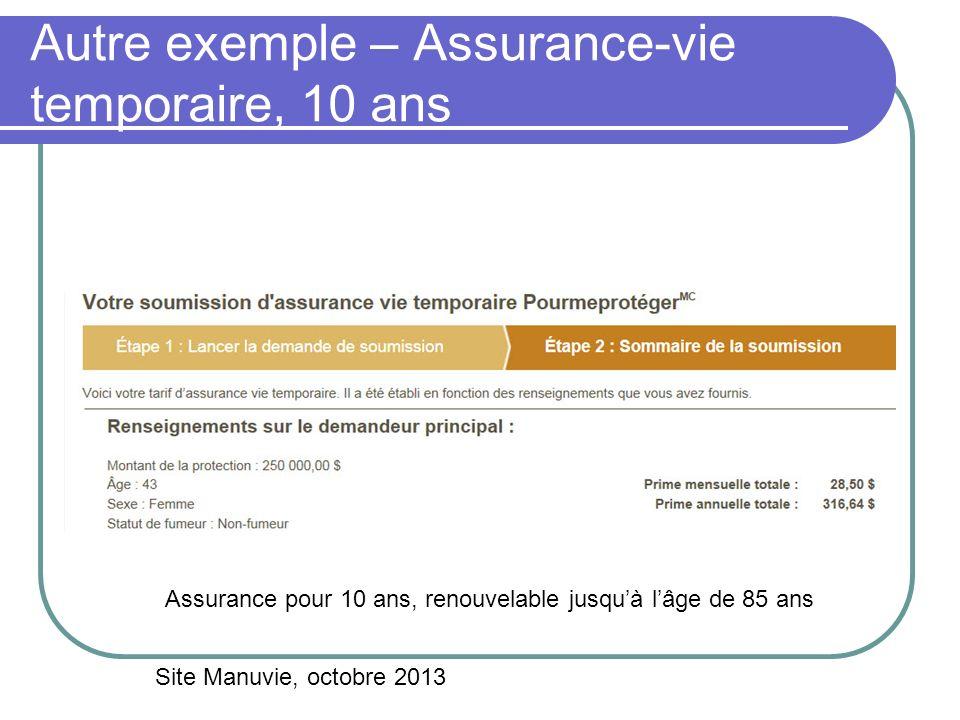 Autre exemple – Assurance-vie temporaire, 10 ans Site Manuvie, octobre 2013 Assurance pour 10 ans, renouvelable jusquà lâge de 85 ans