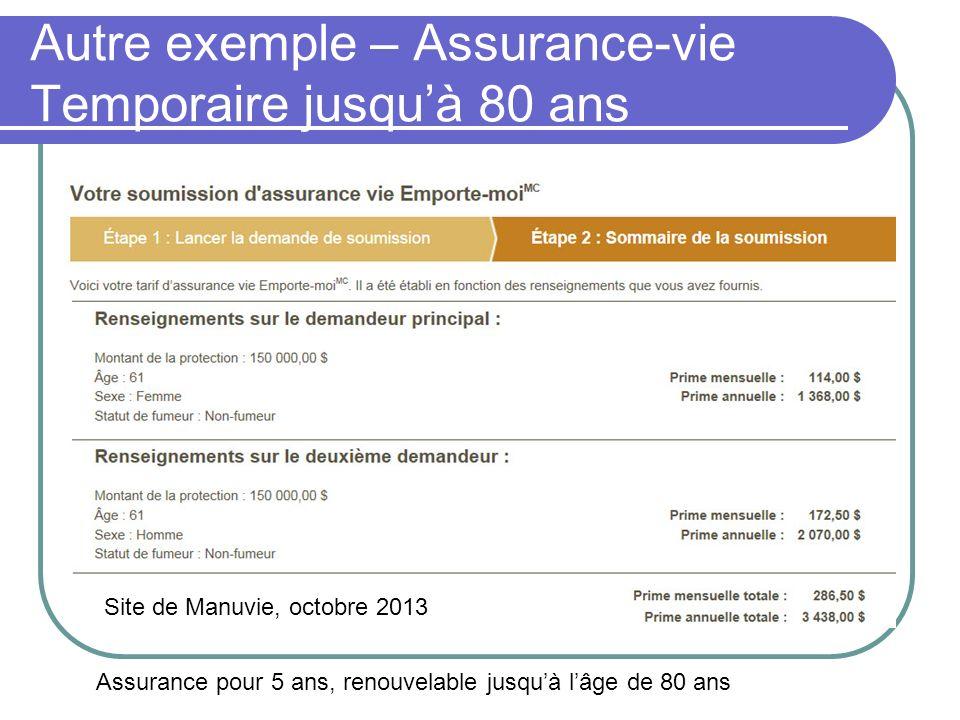 Autre exemple – Assurance-vie Temporaire jusquà 80 ans Site de Manuvie, octobre 2013 Assurance pour 5 ans, renouvelable jusquà lâge de 80 ans