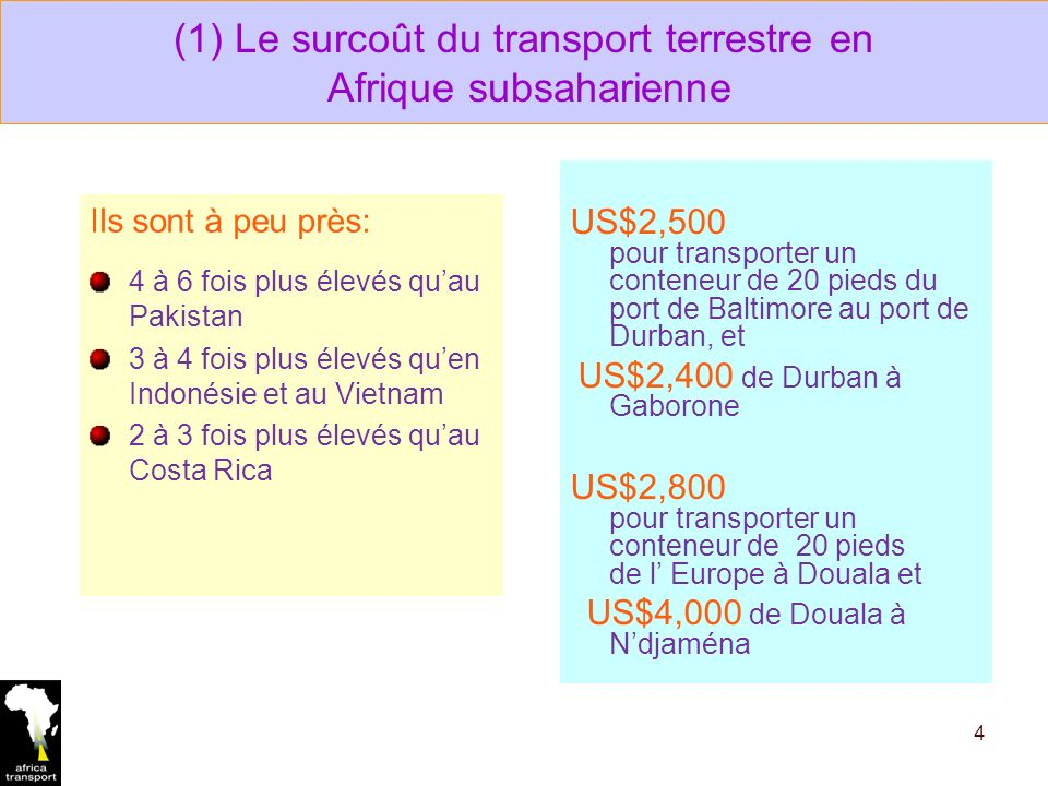 (1) Le surcoût du transport terrestre en Afrique subsaharienne Ils sont à peu près: 4 à 6 fois plus élevés quau Pakistan 3 à 4 fois plus élevés quen Indonésie et au Vietnam 2 à 3 fois plus élevés quau Costa Rica 4 US$2,500 pour transporter un conteneur de 20 pieds du port de Baltimore au port de Durban, et US$2,400 de Durban à Gaborone US$2,800 pour transporter un conteneur de 20 pieds de l Europe à Douala et US$4,000 de Douala à Ndjaména