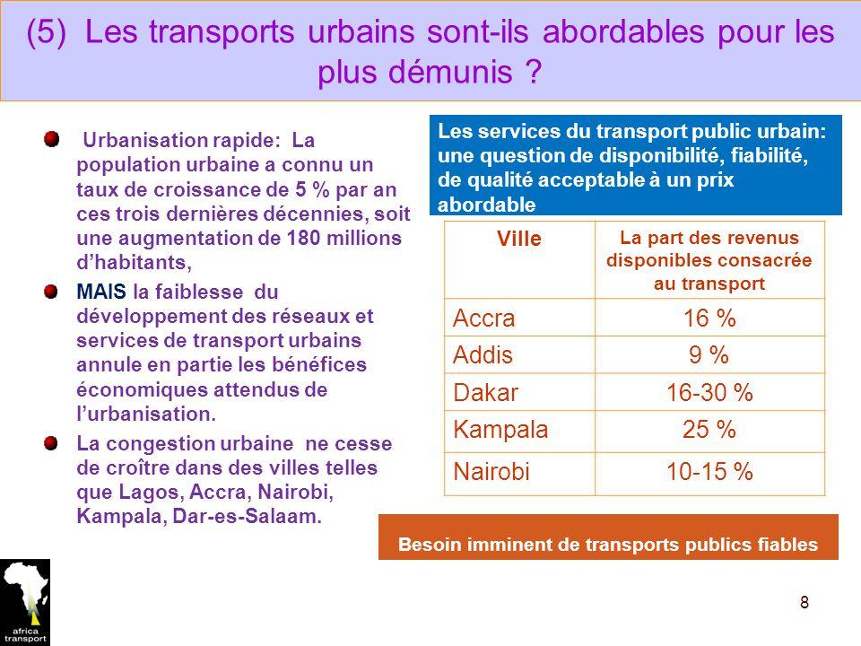 (5) Les transports urbains sont-ils abordables pour les plus démunis .