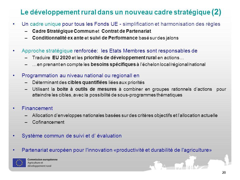 20 Un cadre unique pour tous les Fonds UE - simplification et harmonisation des règles –Cadre Stratégique Commun et Contrat de Partenariat –Conditionnalité ex ante et suivi de Performance basé sur des jalons Approche stratégique renforcée: les Etats Membres sont responsables de –Traduire EU 2020 et les priorités de développement rural en actions… –…en prenant en compte les besoins spécifiques à léchelon local/régional/national Programmation au niveau national ou regionall en –Déterminant des cibles quantifiées liées aux priorités –Utilisant la boite à outils de mesures à combiner en groupes rationnels dactions pour atteindre les cibles, avec la possibilité de sous-programmes thématiques Financement –Allocation denveloppes nationales basées sur des critères objectifs et lallocation actuelle –Cofinancement Système commun de suivi et d évaluation Partenariat européen pour l innovation «productivité et durabilité de l agriculture» Le développement rural dans un nouveau cadre stratégique (2)