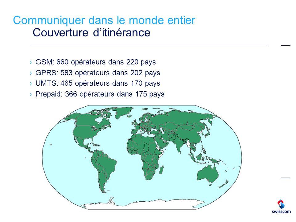 Communiquer dans le monde entier Couverture ditinérance GSM: 660 opérateurs dans 220 pays GPRS: 583 opérateurs dans 202 pays UMTS: 465 opérateurs dans