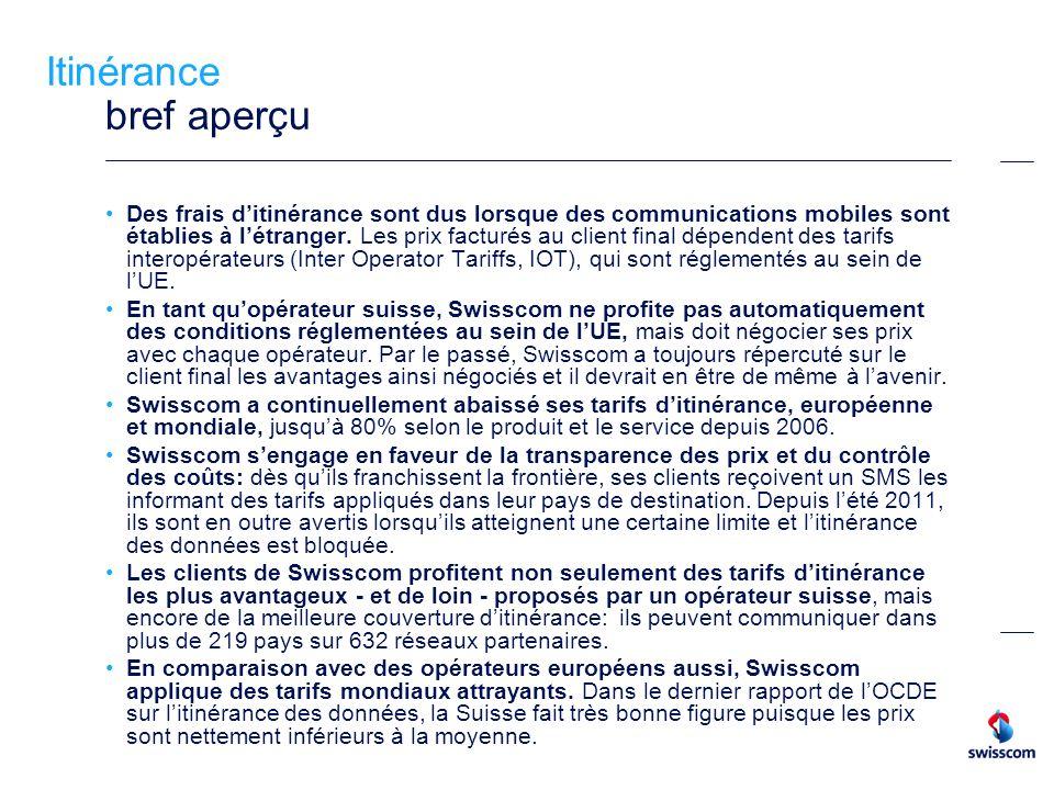 3 Rappel des mesures prises en matière ditinérance Baisse des tarifs pratiqués par Swisscom au niveau européen et mondial Baisse des tarifs Voice en Europe de -40% Baisse des tarifs Voice en Europe de -35% (option Euro Passport) et SMS Simplification et transparence accrue grâce aux zones de pays Tarifs plus attrayants grâce à la première option ditinérance (Vodafone World) Data -30% (tarifs standard) 2004 2006 2007 2009 2010 Data jusquà -80% (nouveau modèle de prix) Voice, SMS, Data jusquà - 80% (World Option flex) 2011 Voice Annonce de baisses de prix jusquen 2014, 1 e étape (- 5 ct.) Data Introduction du contrôle des coûts (Data Cockpit) 2012 Voice 2 e étape (- 5 ct., Prepaid SMS (-50 ct.) Data Lancement du nouveau paquet hebdomadaire de 50 Mo pour CHF 24 (en dessous du prix réglementaire de lUE) 2013 Autres réductions de prix dès juillet 2013 Voice, Data: introduction dunités ditinérance incluses (Liberty M, L, XL); > 26% du trafic ditinérance passe déjà par Liberty plans tarifairesplans tarifaires Lancement de l Application Roaming Guide (conseiller tarifaire, cockpit)Application Roaming Guide
