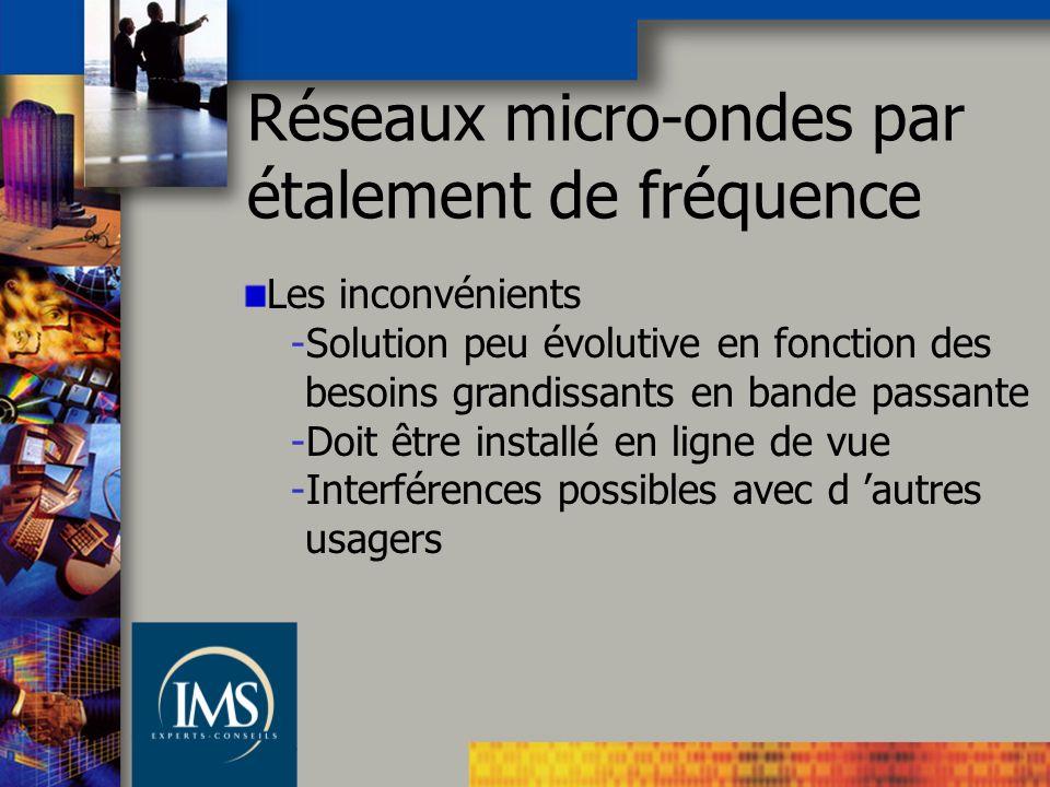 Les inconvénients -Solution peu évolutive en fonction des besoins grandissants en bande passante -Doit être installé en ligne de vue -Interférences possibles avec d autres usagers Réseaux micro-ondes par étalement de fréquence