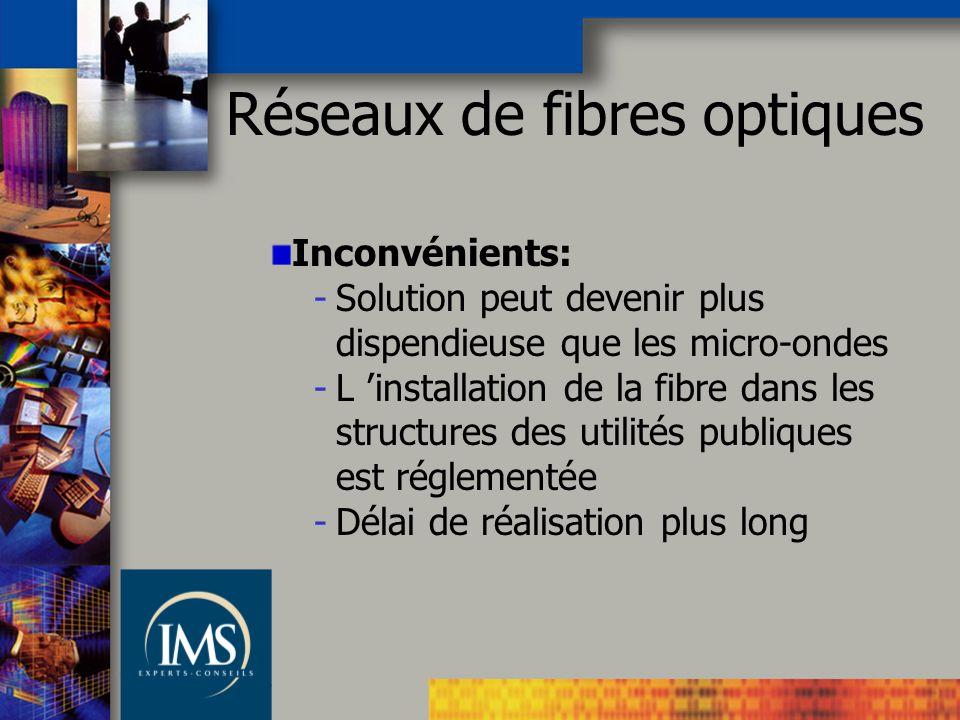Réseaux de fibres optiques Inconvénients: -Solution peut devenir plus dispendieuse que les micro-ondes -L installation de la fibre dans les structures des utilités publiques est réglementée -Délai de réalisation plus long