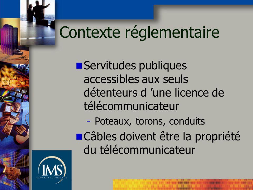 Contexte réglementaire Servitudes publiques accessibles aux seuls détenteurs d une licence de télécommunicateur -Poteaux, torons, conduits Câbles doivent être la propriété du télécommunicateur