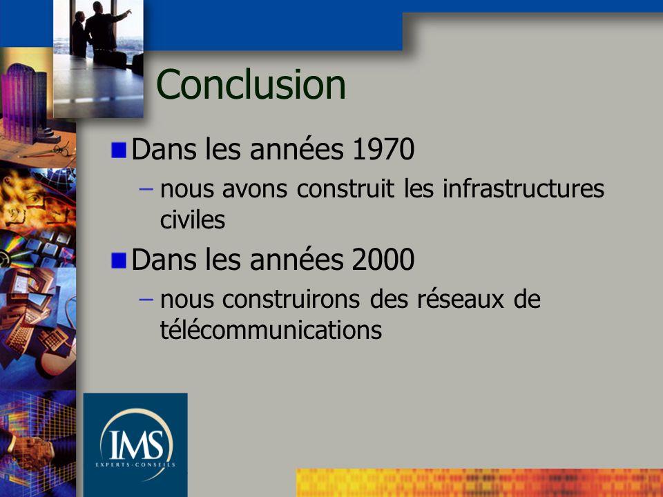 Conclusion Dans les années 1970 –nous avons construit les infrastructures civiles Dans les années 2000 –nous construirons des réseaux de télécommunica