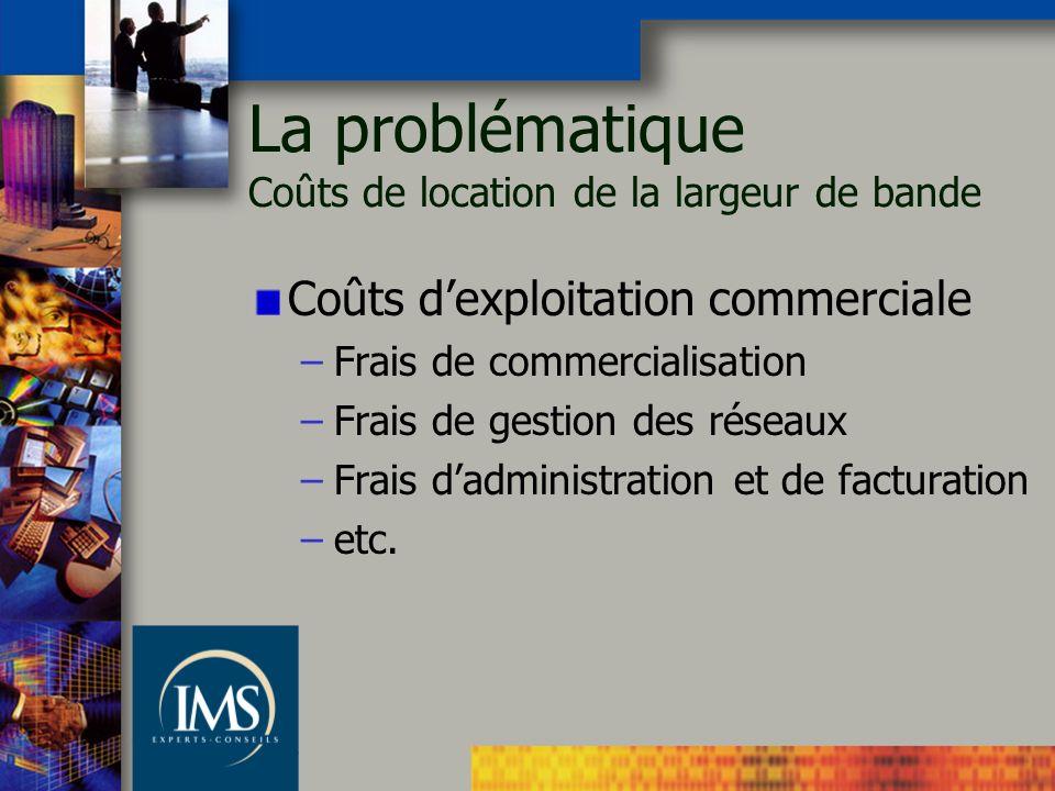Coûts dexploitation commerciale –Frais de commercialisation –Frais de gestion des réseaux –Frais dadministration et de facturation –etc. La problémati
