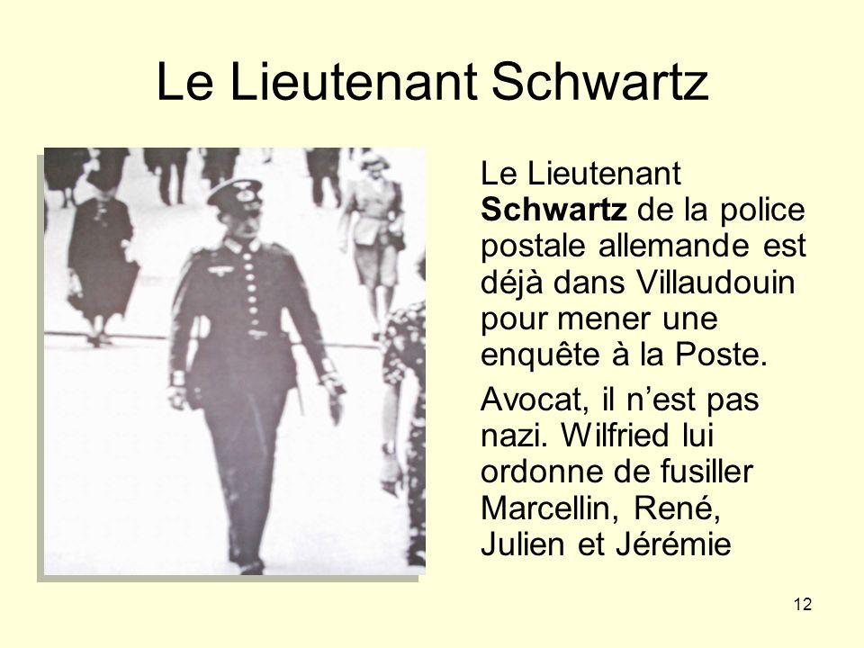 12 Le Lieutenant Schwartz Le Lieutenant Schwartz de la police postale allemande est déjà dans Villaudouin pour mener une enquête à la Poste. Avocat, i