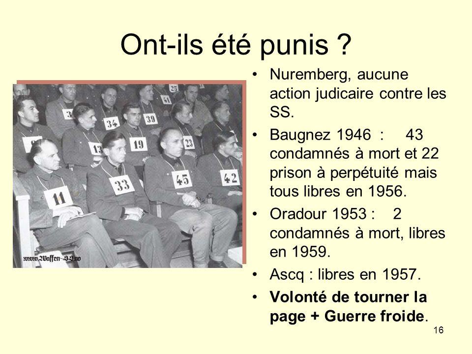 16 Ont-ils été punis ? Nuremberg, aucune action judicaire contre les SS. Baugnez 1946 : 43 condamnés à mort et 22 prison à perpétuité mais tous libres