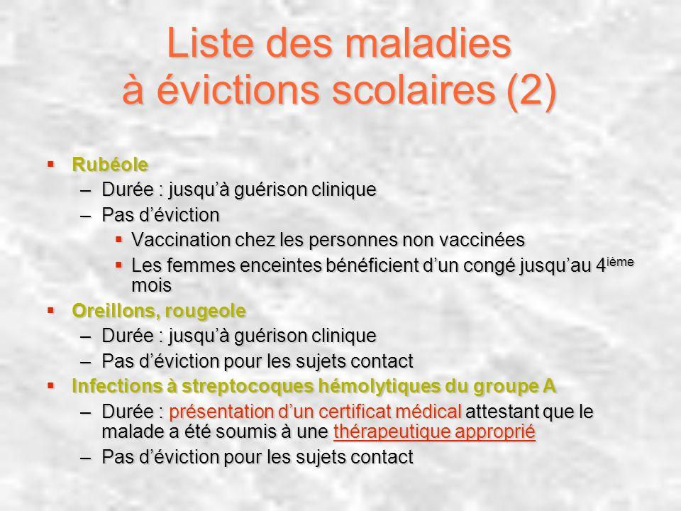 Liste des maladies à évictions scolaires (2) Rubéole Rubéole –Durée : jusquà guérison clinique –Pas déviction Vaccination chez les personnes non vacci