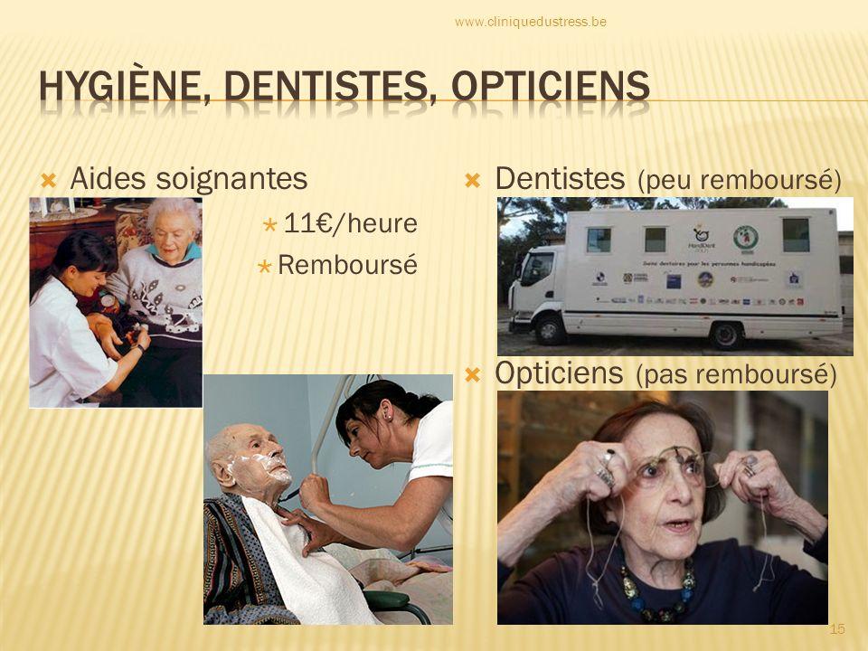 Aides soignantes 11/heure Remboursé Dentistes (peu remboursé) Opticiens (pas remboursé) 15 www.cliniquedustress.be