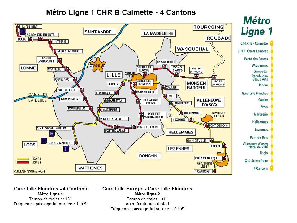 Métro Ligne 1 CHR B Calmette - 4 Cantons Gare Lille Flandres - 4 Cantons Métro ligne 1 Temps de trajet : : 13' Fréquence passage la journée : 1 à 5 Ga
