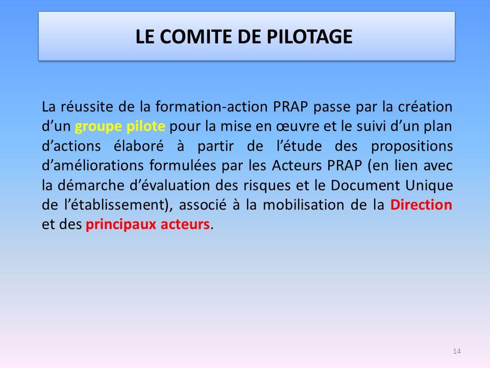 LE COMITE DE PILOTAGE La réussite de la formation-action PRAP passe par la création dun groupe pilote pour la mise en œuvre et le suivi dun plan dacti