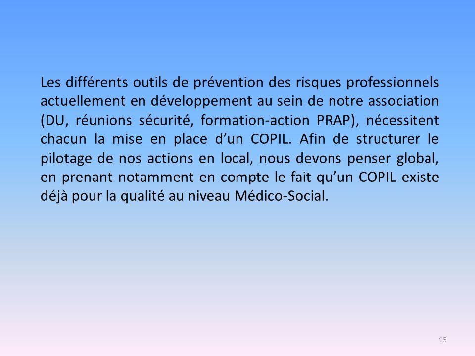 Les différents outils de prévention des risques professionnels actuellement en développement au sein de notre association (DU, réunions sécurité, form