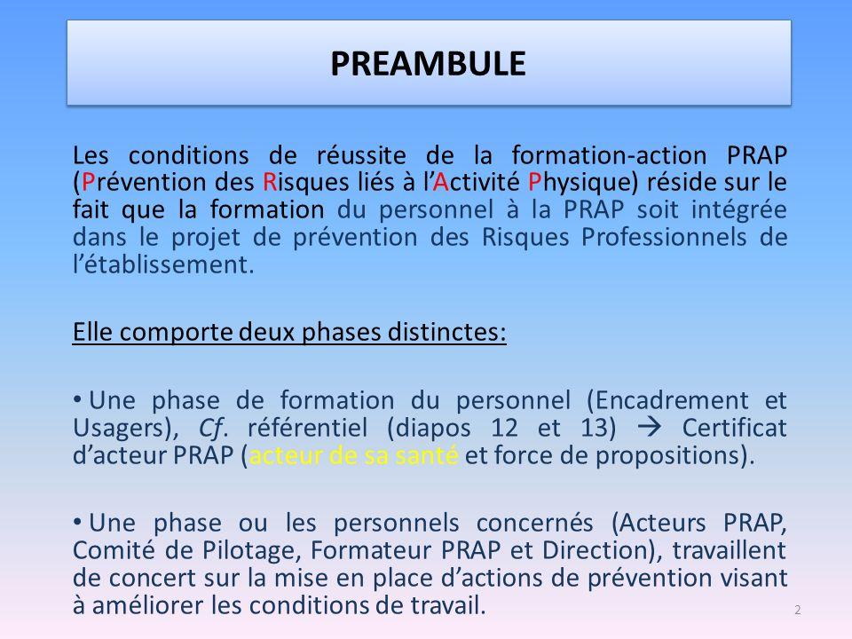 PREAMBULE Les conditions de réussite de la formation-action PRAP (Prévention des Risques liés à lActivité Physique) réside sur le fait que la formatio