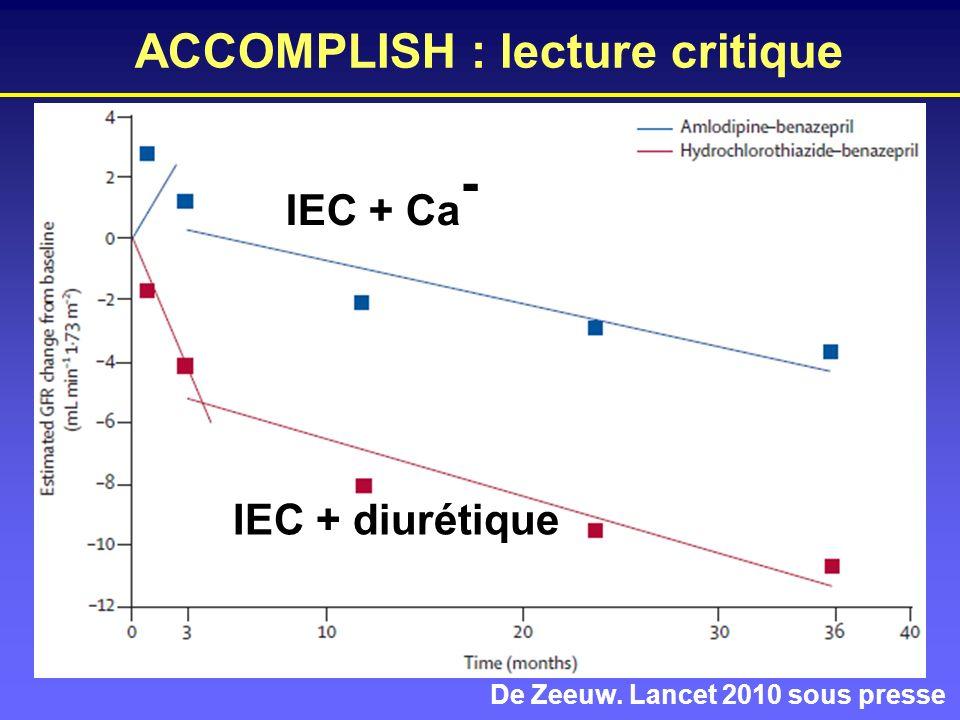 ACCOMPLISH : lecture critique De Zeeuw. Lancet 2010 sous presse IEC + Ca - IEC + diurétique