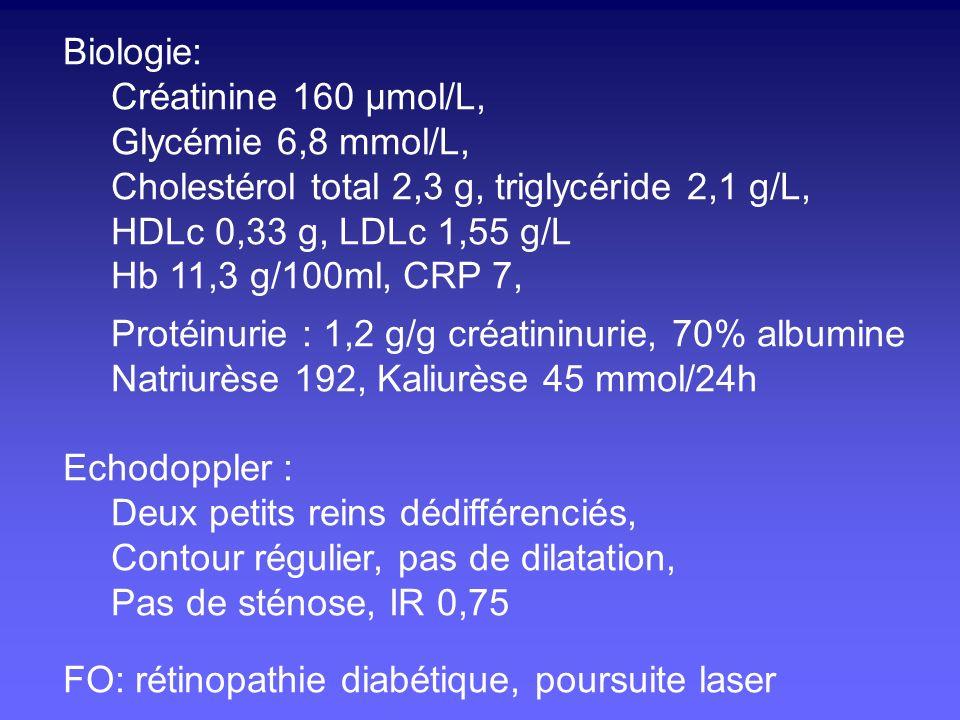 Biologie: Créatinine 160 µmol/L, Glycémie 6,8 mmol/L, Cholestérol total 2,3 g, triglycéride 2,1 g/L, HDLc 0,33 g, LDLc 1,55 g/L Hb 11,3 g/100ml, CRP 7