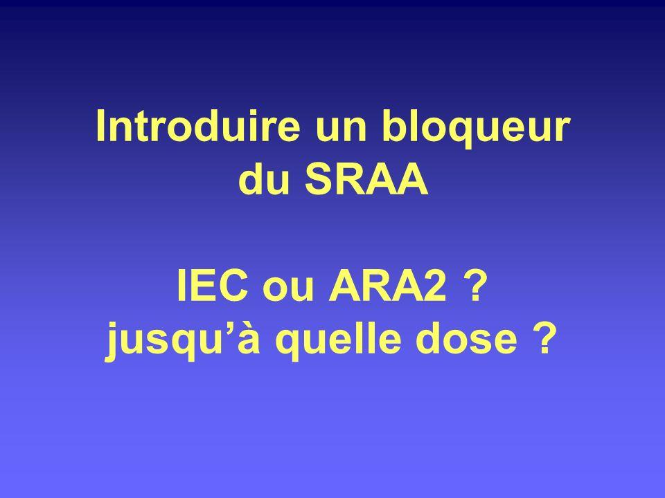1/ Augmenter la dose des IEC ou ARA2 2/ Renforcer le traitement diurétique 3/ Association IEC + ARA2 4/ Diurétique anti-aldostérone 5/ Aliskiren 6/ Changer les horaires de prise IEC-ARA2 Faire baisser la protéinurie