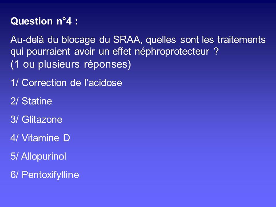 Question n°4 : Au-delà du blocage du SRAA, quelles sont les traitements qui pourraient avoir un effet néphroprotecteur ? (1 ou plusieurs réponses) 1/