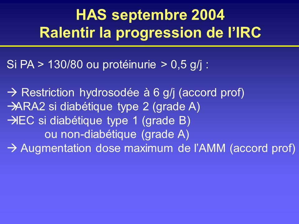 HAS septembre 2004 Ralentir la progression de lIRC Si PA > 130/80 ou protéinurie > 0,5 g/j : Restriction hydrosodée à 6 g/j (accord prof) ARA2 si diab