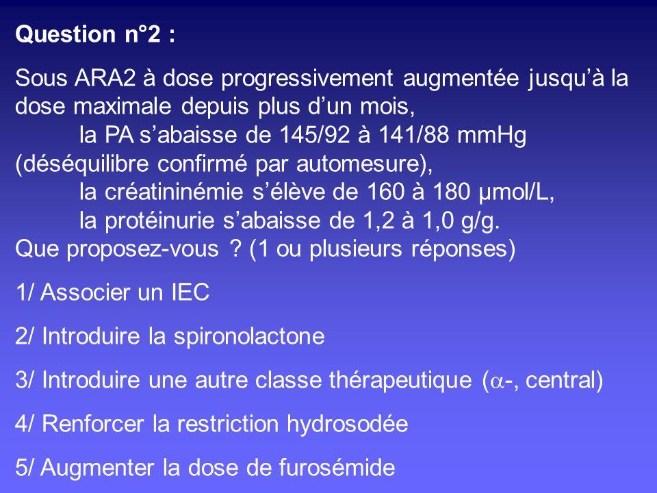 Objectif de PA et protection rénale Méta-analyse PAS optimale 110-129 mm Hg si protéinurie > 1 g/j Dégradation rénale si PAS < 110 mm Hg Jafar, Ann Intern Med 2003;139:244