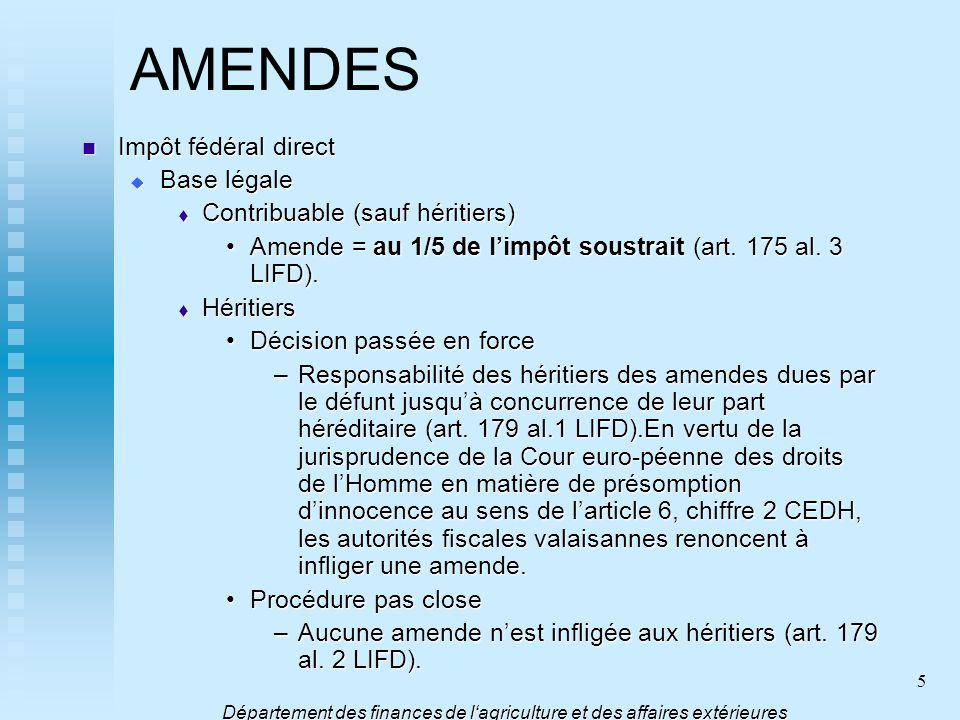 5 AMENDES Impôt fédéral direct Impôt fédéral direct Base légale Base légale Contribuable (sauf héritiers) Contribuable (sauf héritiers) Amende = au 1/
