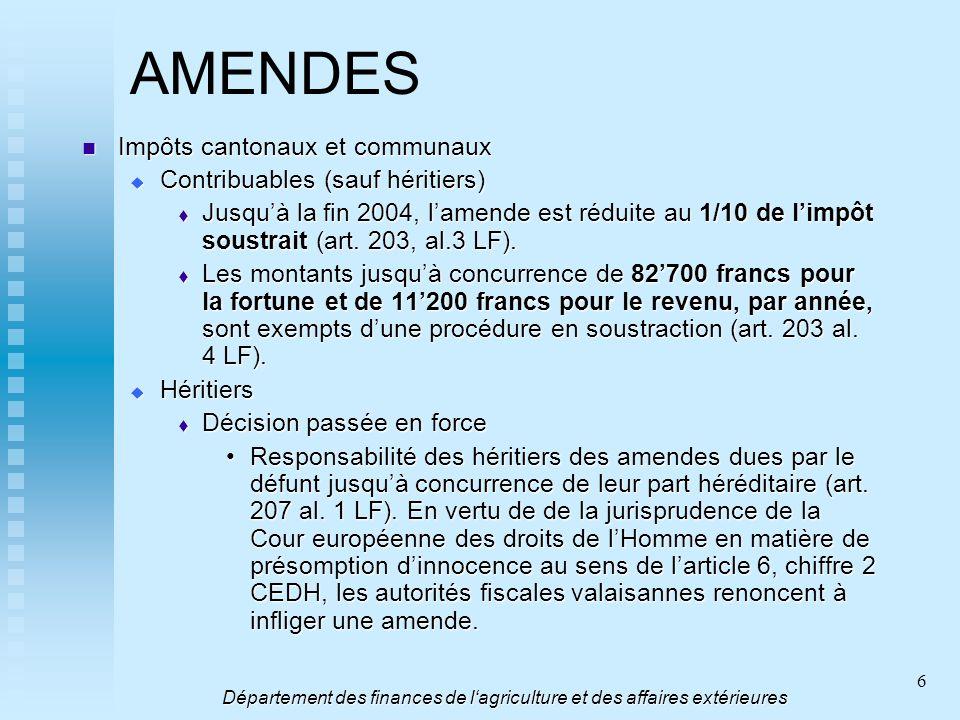 6 AMENDES Impôts cantonaux et communaux Impôts cantonaux et communaux Contribuables (sauf héritiers) Contribuables (sauf héritiers) Jusquà la fin 2004