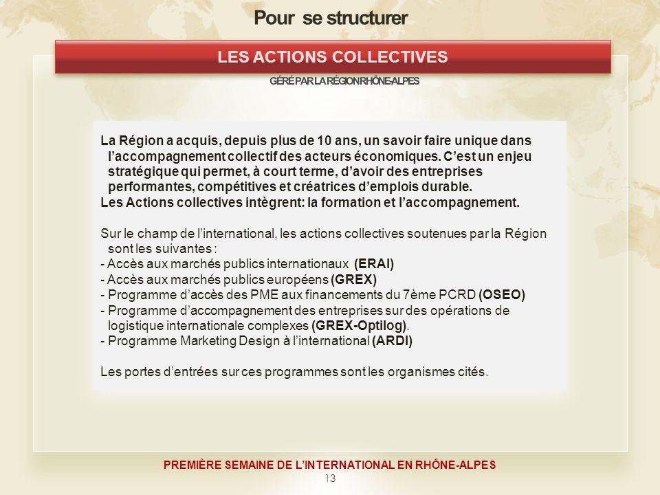 13 PREMIÈRE SEMAINE DE LINTERNATIONAL EN RHÔNE-ALPES La Région a acquis, depuis plus de 10 ans, un savoir faire unique dans laccompagnement collectif des acteurs économiques.