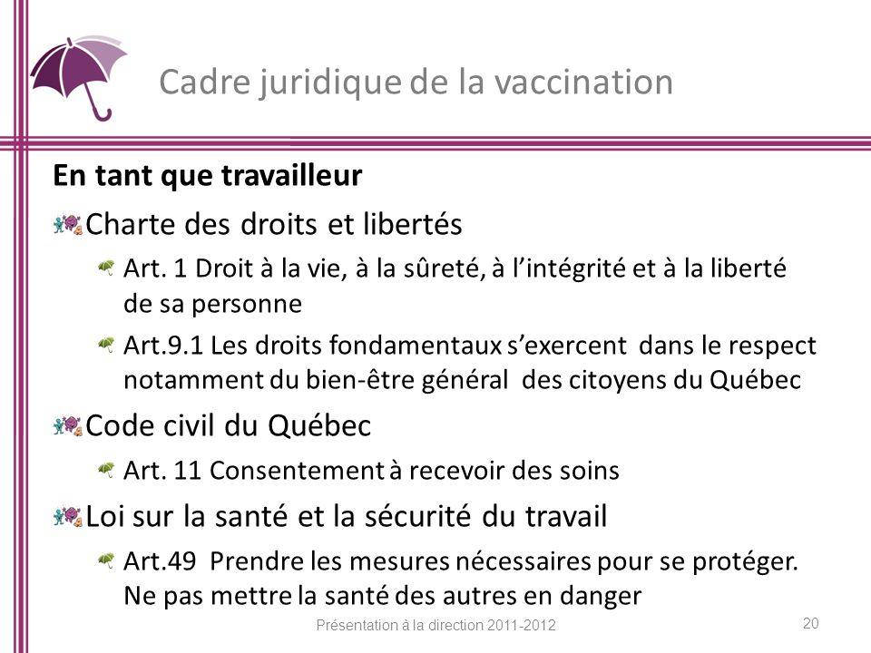Cadre juridique de la vaccination En tant que travailleur Charte des droits et libertés Art. 1 Droit à la vie, à la sûreté, à lintégrité et à la liber