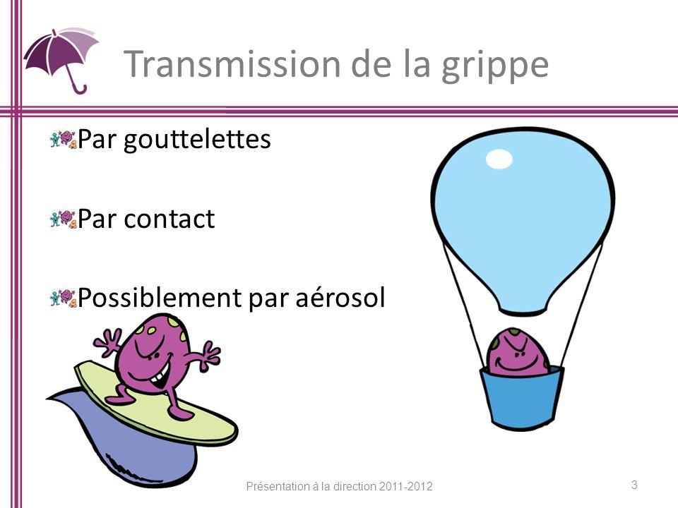 Transmission de la grippe Par gouttelettes Par contact Possiblement par aérosol 3 Présentation à la direction 2011-2012