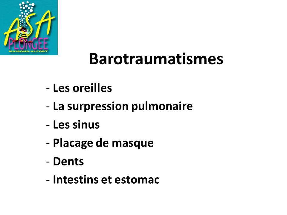 Barotraumatismes - Les oreilles - La surpression pulmonaire - Les sinus - Placage de masque - Dents - Intestins et estomac