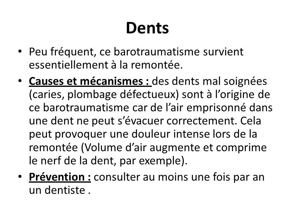 Dents Peu fréquent, ce barotraumatisme survient essentiellement à la remontée. Causes et mécanismes : des dents mal soignées (caries, plombage défectu