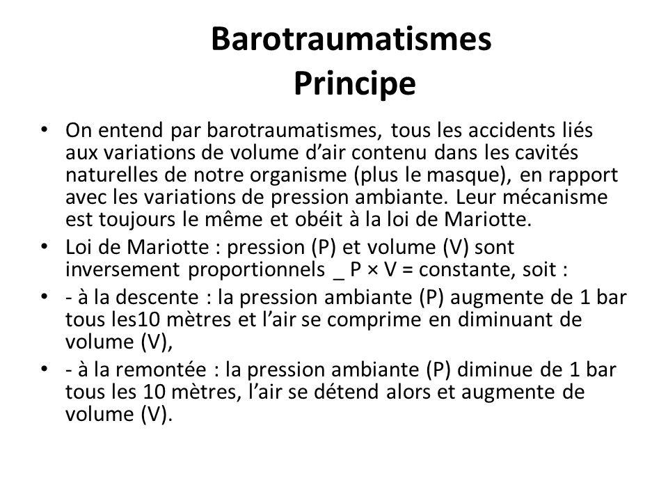 Barotraumatismes Principe On entend par barotraumatismes, tous les accidents liés aux variations de volume dair contenu dans les cavités naturelles de notre organisme (plus le masque), en rapport avec les variations de pression ambiante.