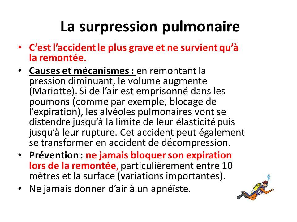 La surpression pulmonaire Cest laccident le plus grave et ne survient quà la remontée. Causes et mécanismes : en remontant la pression diminuant, le v