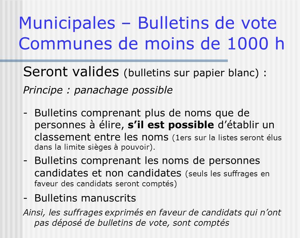 Municipales – Bulletins de vote Communes de moins de 1000 h Seront valides (bulletins sur papier blanc) : Principe : panachage possible -Bulletins com
