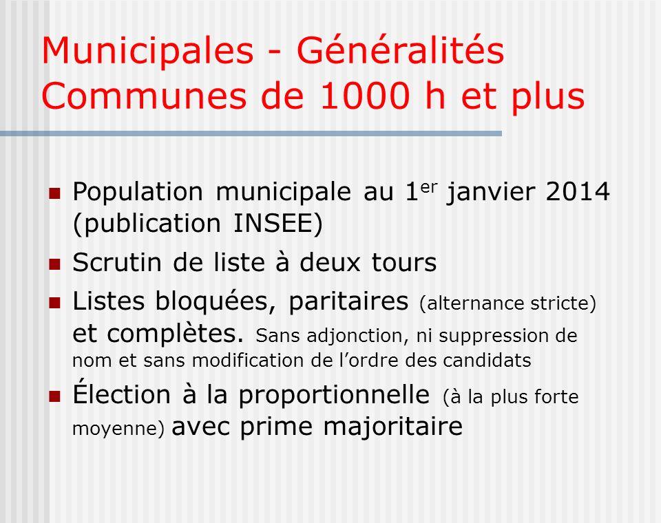 Municipales - Généralités Communes de 1000 h et plus Population municipale au 1 er janvier 2014 (publication INSEE) Scrutin de liste à deux tours List