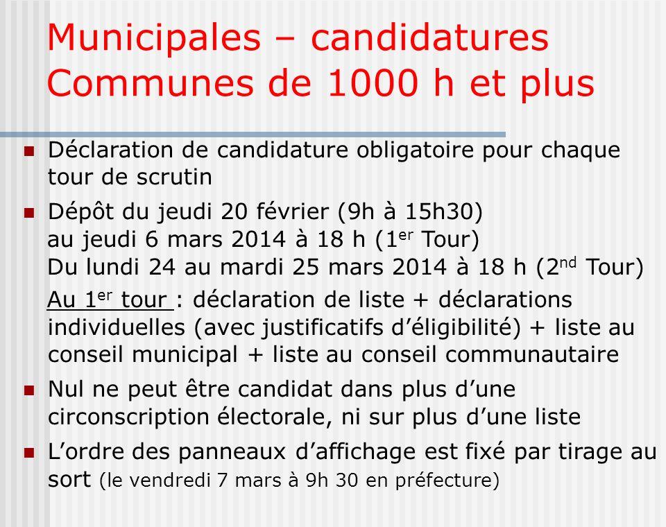 Municipales – candidatures Communes de 1000 h et plus Déclaration de candidature obligatoire pour chaque tour de scrutin Dépôt du jeudi 20 février (9h