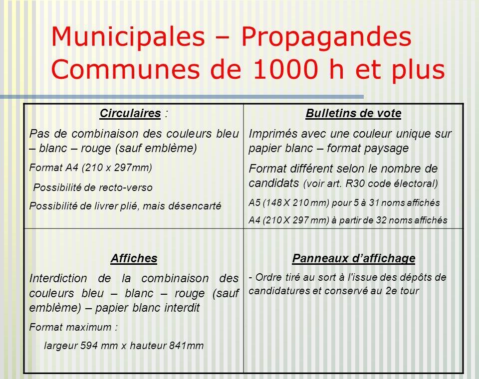 Municipales – Propagandes Communes de 1000 h et plus Circulaires : Pas de combinaison des couleurs bleu – blanc – rouge (sauf emblème) Format A4 (210