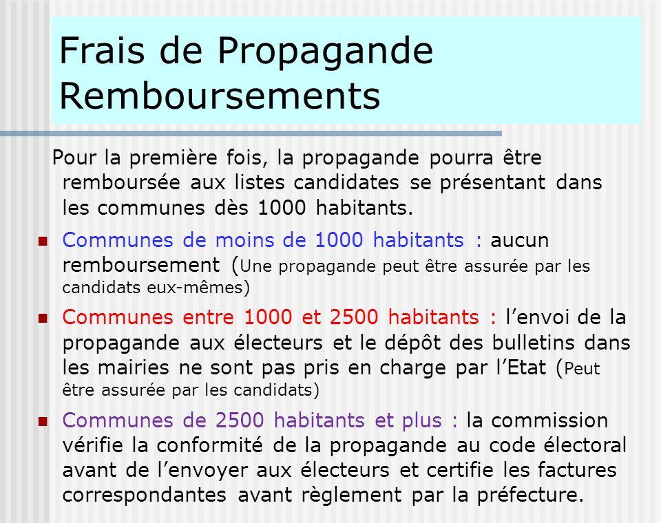 Frais de Propagande Remboursements Pour la première fois, la propagande pourra être remboursée aux listes candidates se présentant dans les communes d