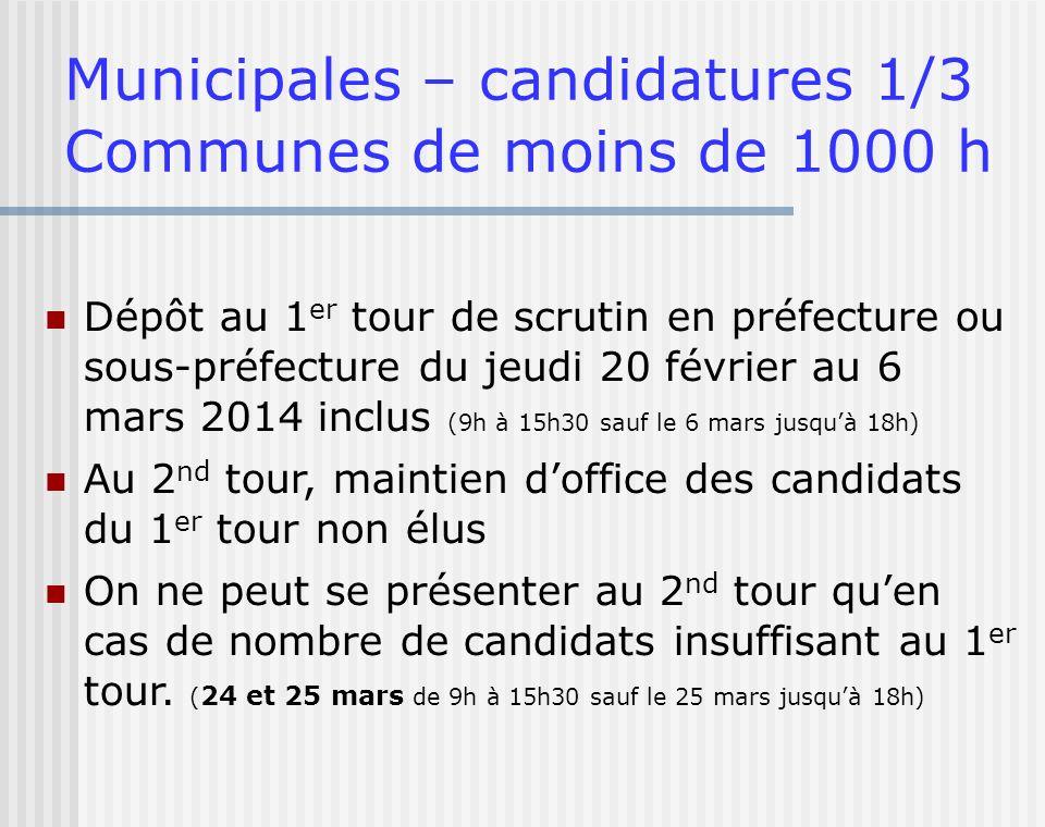 Municipales – candidatures 1/3 Communes de moins de 1000 h Dépôt au 1 er tour de scrutin en préfecture ou sous-préfecture du jeudi 20 février au 6 mar