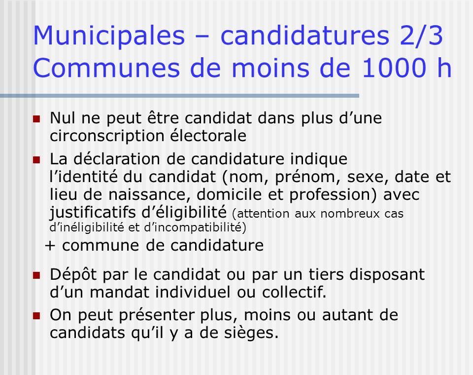 Municipales – candidatures 2/3 Communes de moins de 1000 h Nul ne peut être candidat dans plus dune circonscription électorale La déclaration de candi