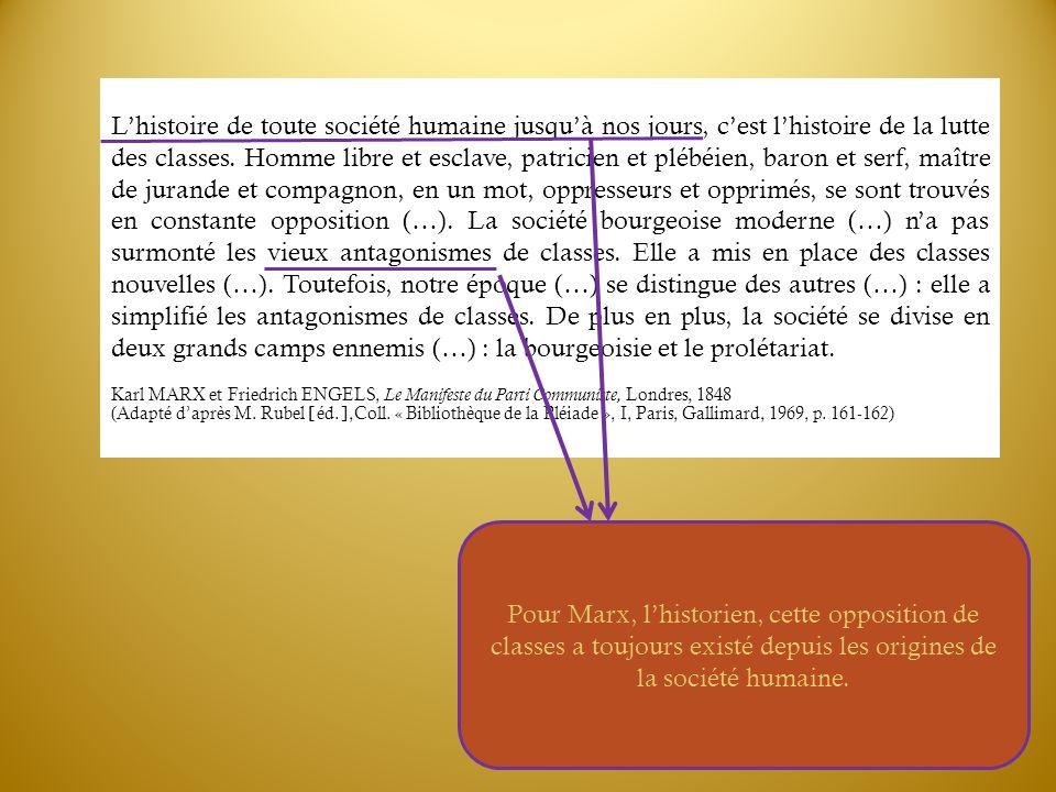 Pour Marx, lhistorien, cette opposition de classes a toujours existé depuis les origines de la société humaine. Lhistoire de toute société humaine jus