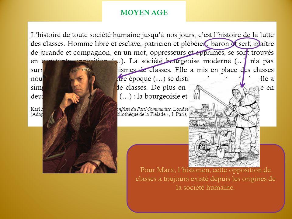 Lhistoire de toute société humaine jusquà nos jours, cest lhistoire de la lutte des classes. Homme libre et esclave, patricien et plébéien, baron et s