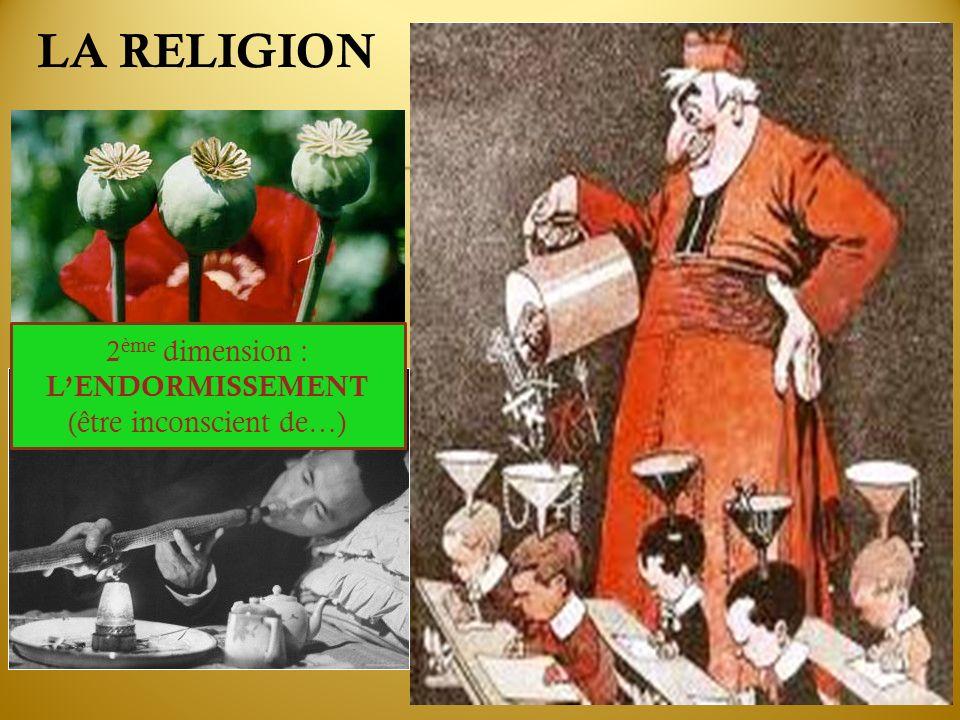 LA RELIGION 2 ème dimension : LENDORMISSEMENT (être inconscient de…)